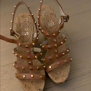 KORS cork studded wedges
